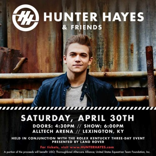Hunter Hayes to perform during Rolex Kentucky Three-Day Event, Proceeds to Benefit TAA