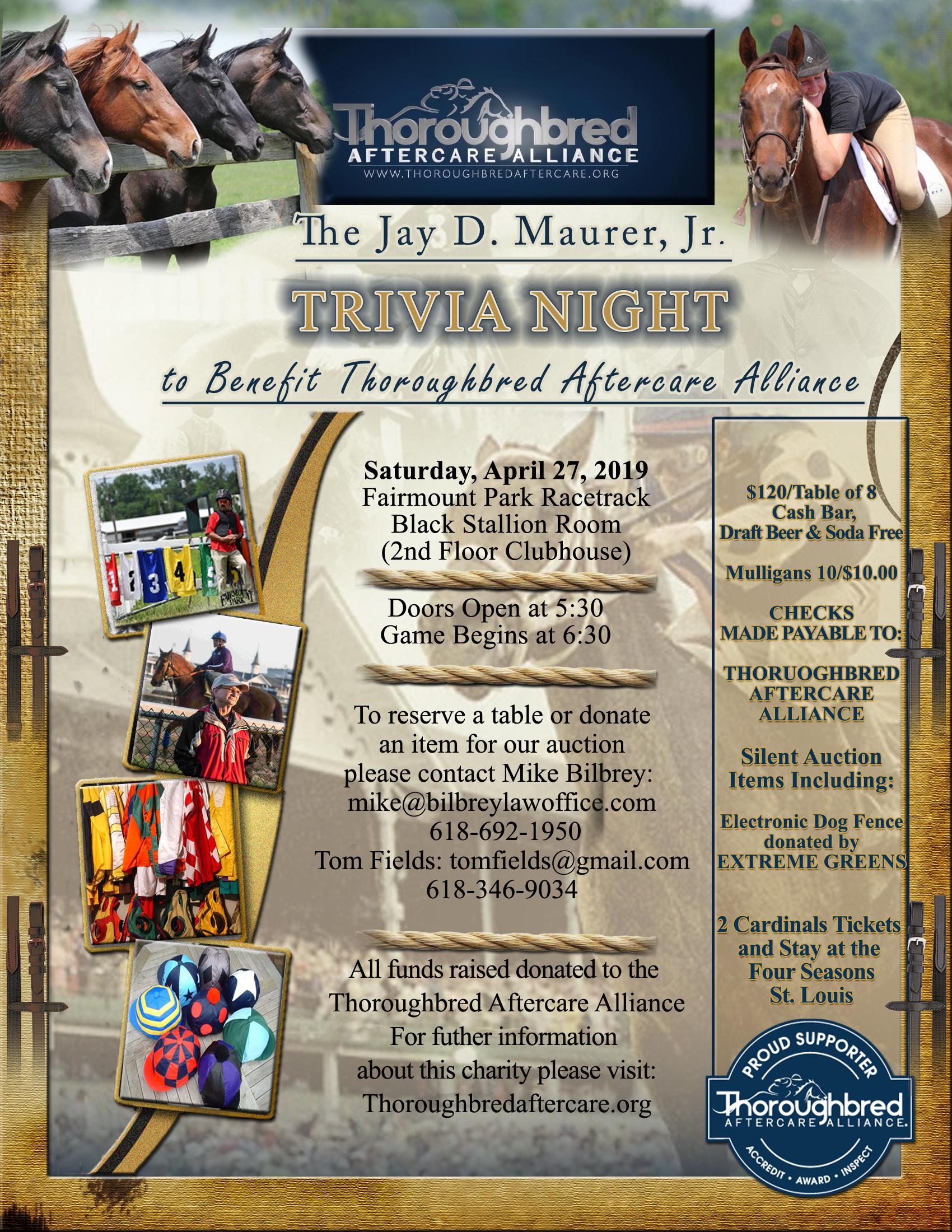Jay Mauer Jr Trivia Night flyer