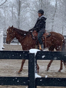 Filly Named Billy and Kellee in snow